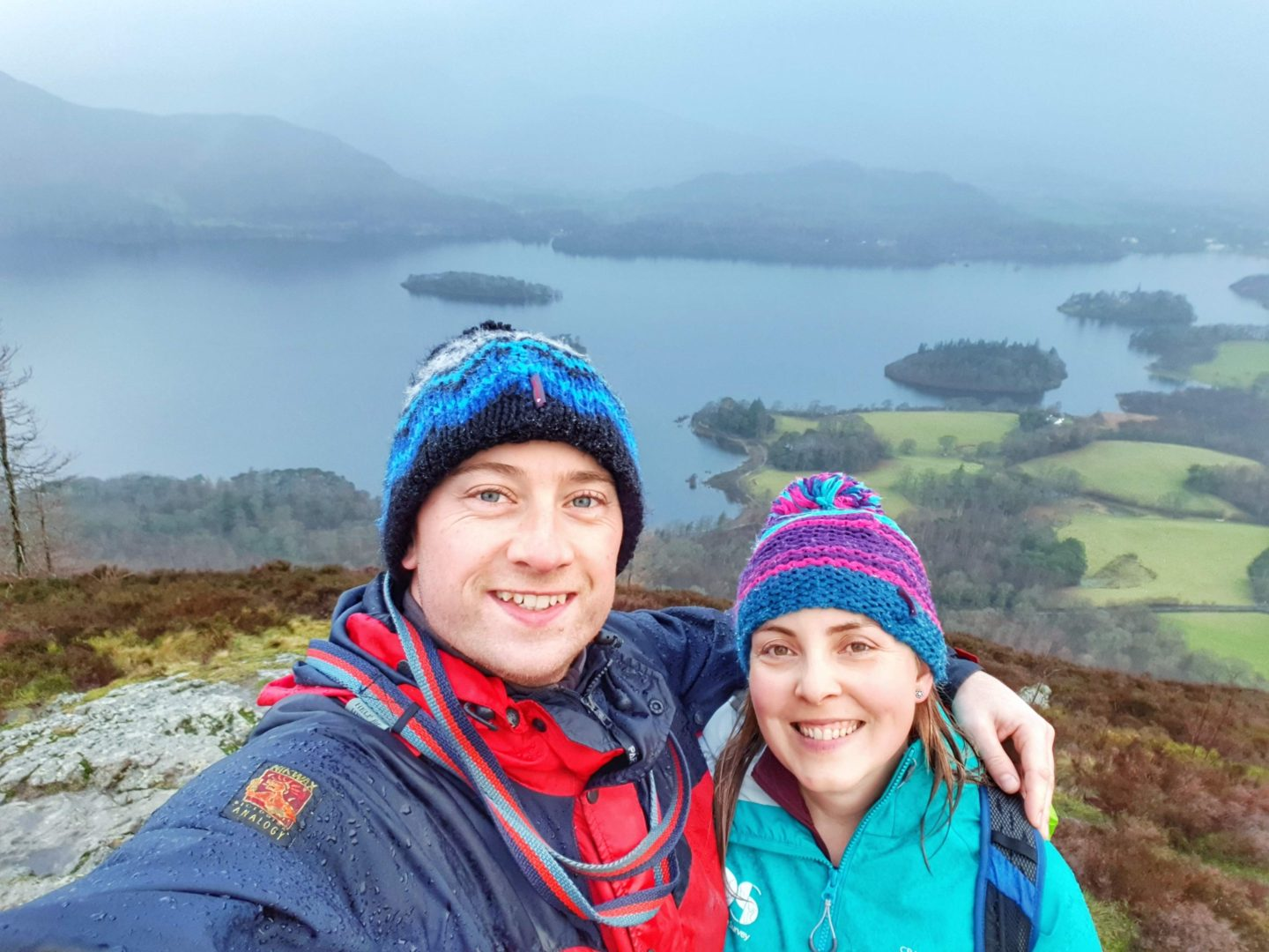 Couples selfie on top of Walla Crag with views across Derwent Water in the Lake District
