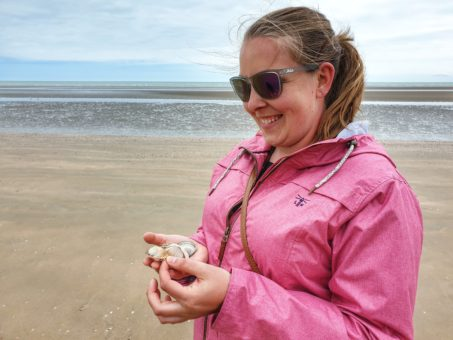 Camber Sands collecting shells