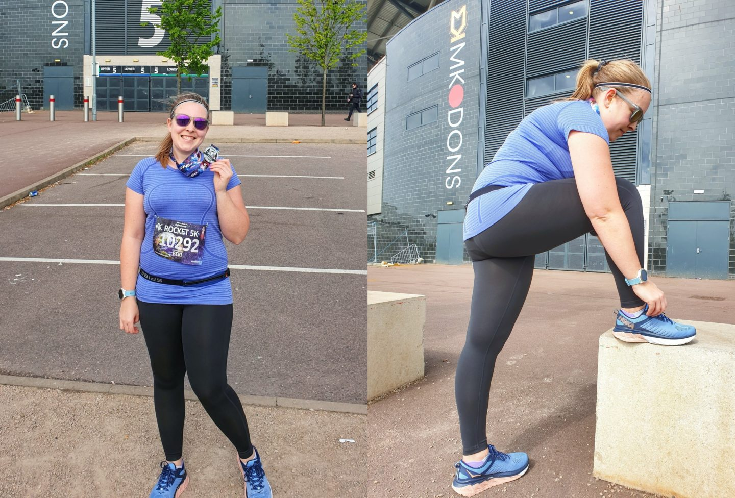 Black running leggings worn at MK Rocket 5k
