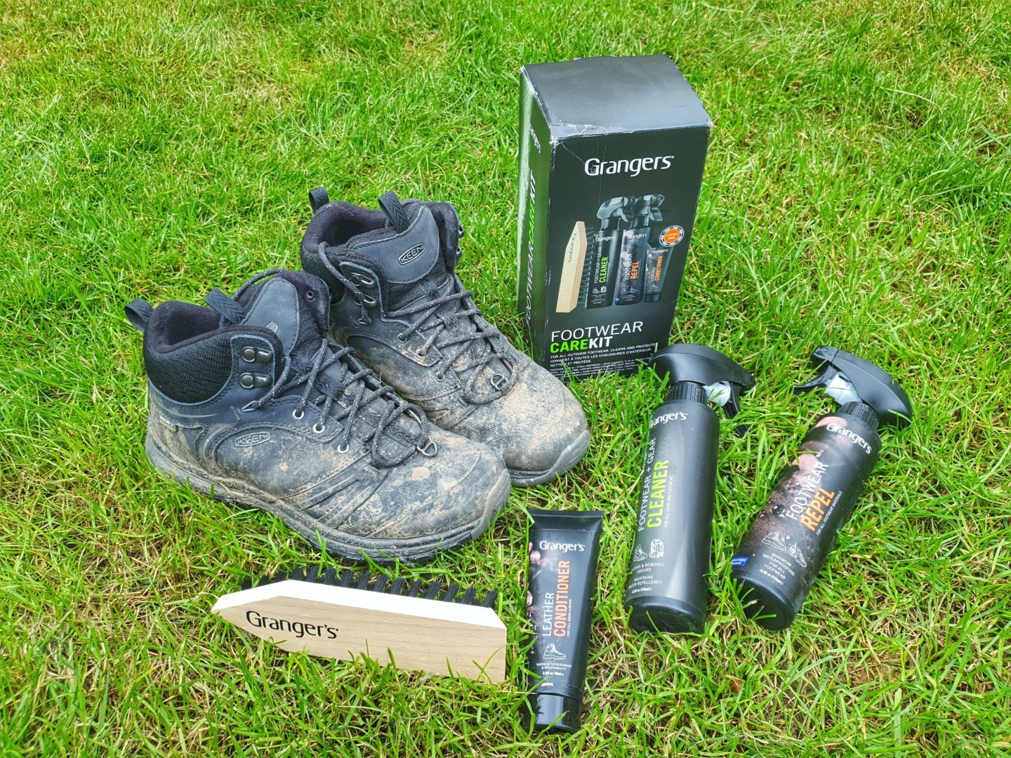 Grangers Footwear Care Kit and muddy boots