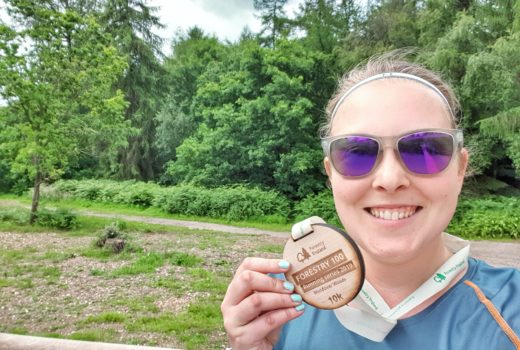 Selfie with wooden medal at Wendover Woods 10k