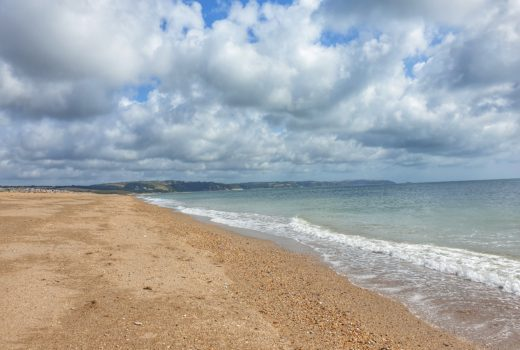 Landscape of the beach at Slapton Sands in Devon