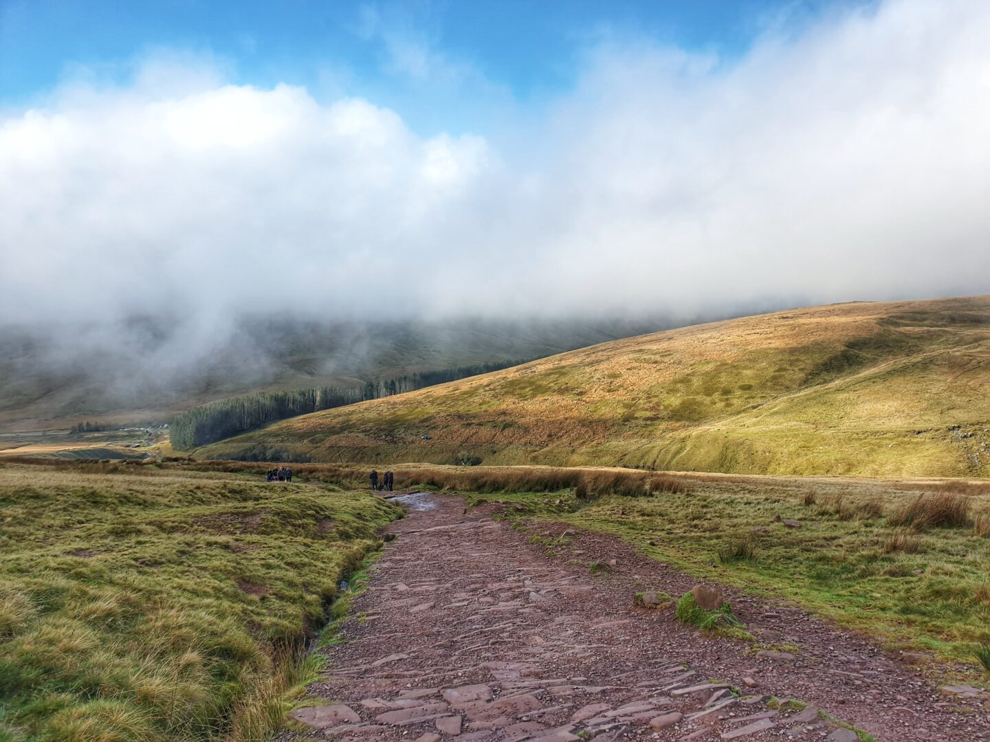The view looking back down the path on the way up Pen Y Fan