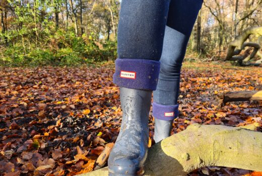 Hunter wellies shown standing on a tree branch