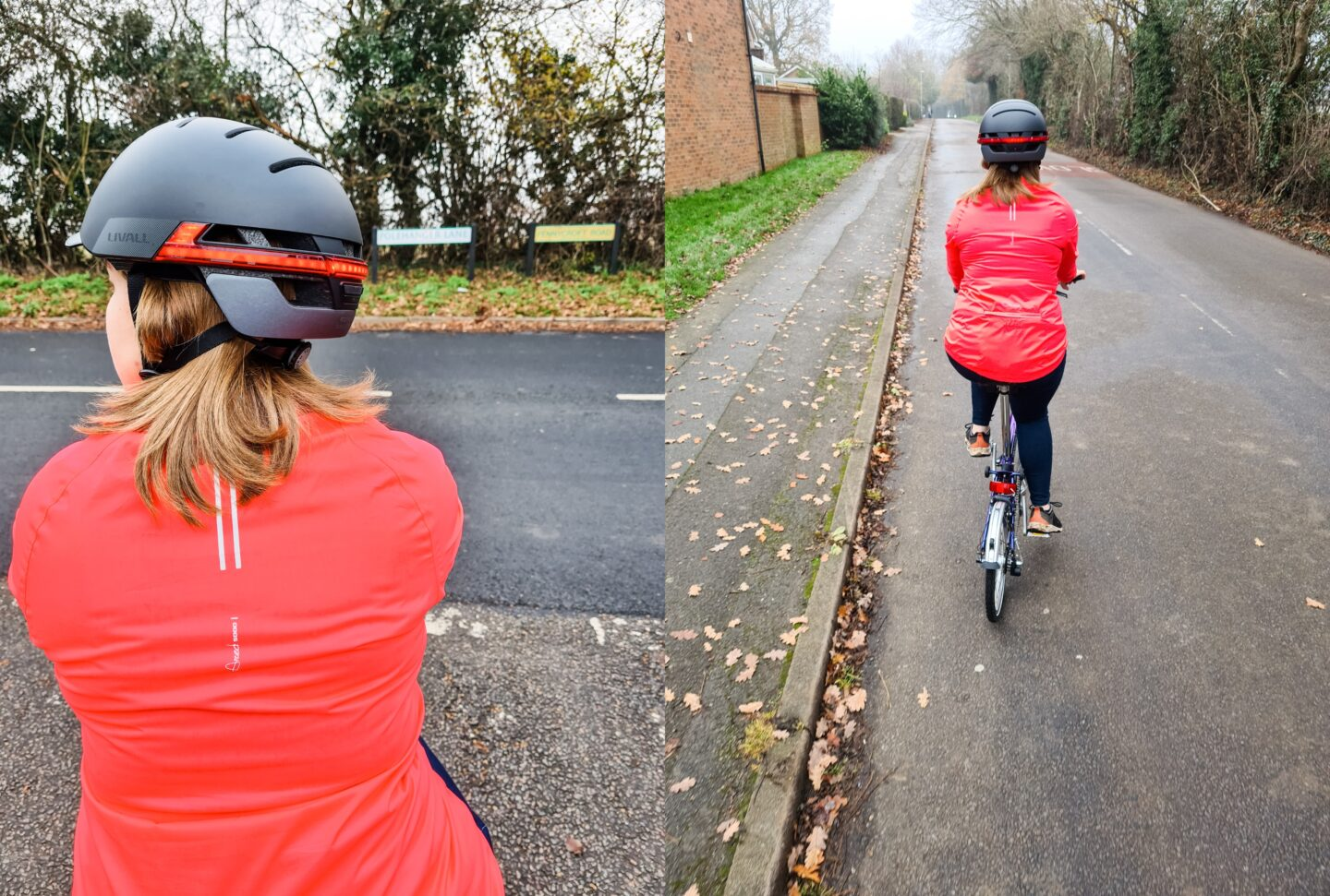 Collage of two images - left shows a woman in pink cycling jacket and helmet at a junction, right shows a woman in pink cycling jacket and helmet riding away down the road