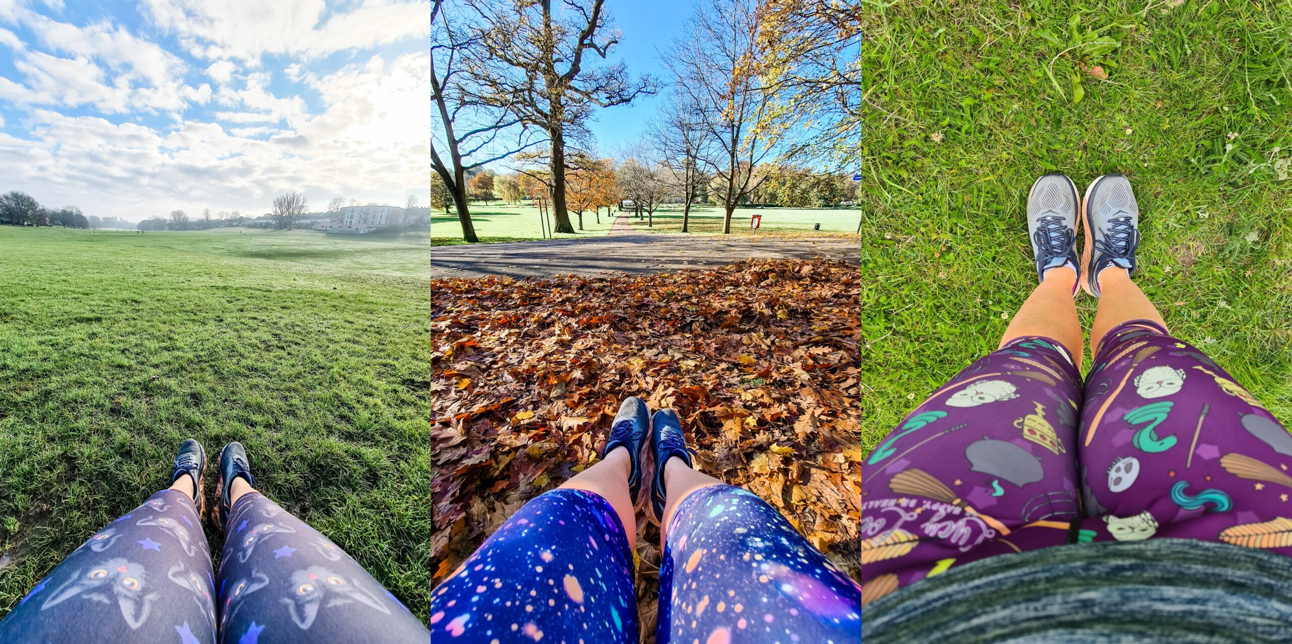Collage of 3 images showing legs and feet wearing different coloured and patterned running leggings